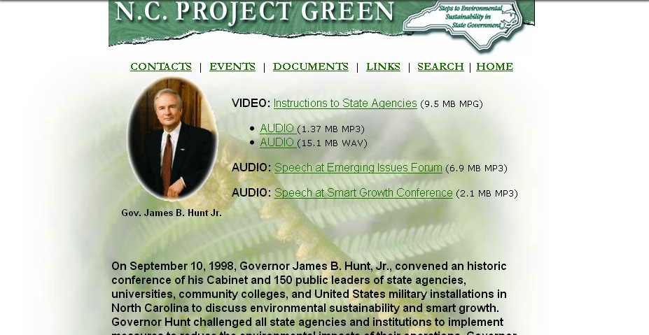 capture from North Carolina State Government Web Site Archive